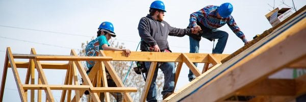 picture of Central Tech construction students building a house in Oklahoma