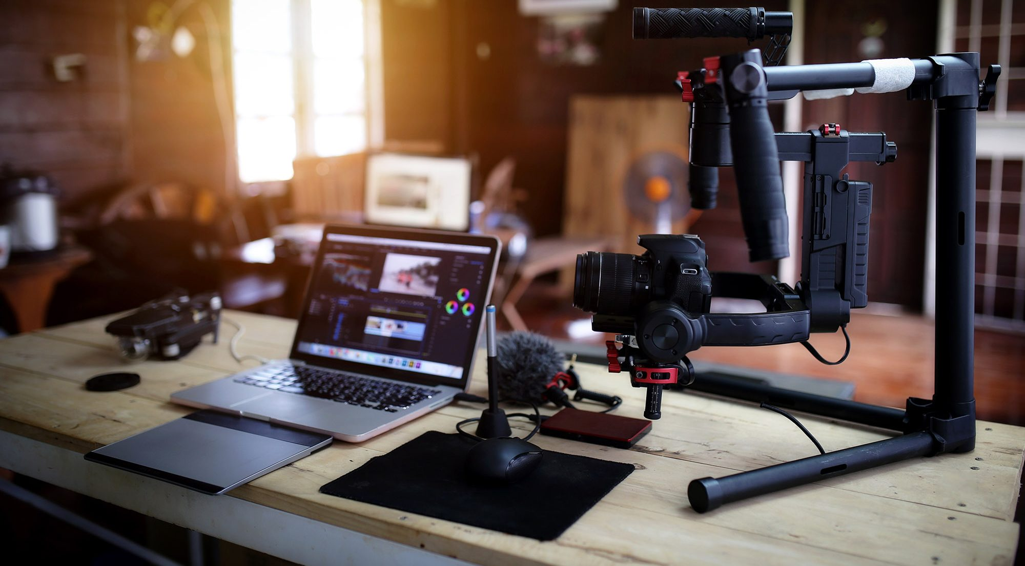 desk of videography equipment