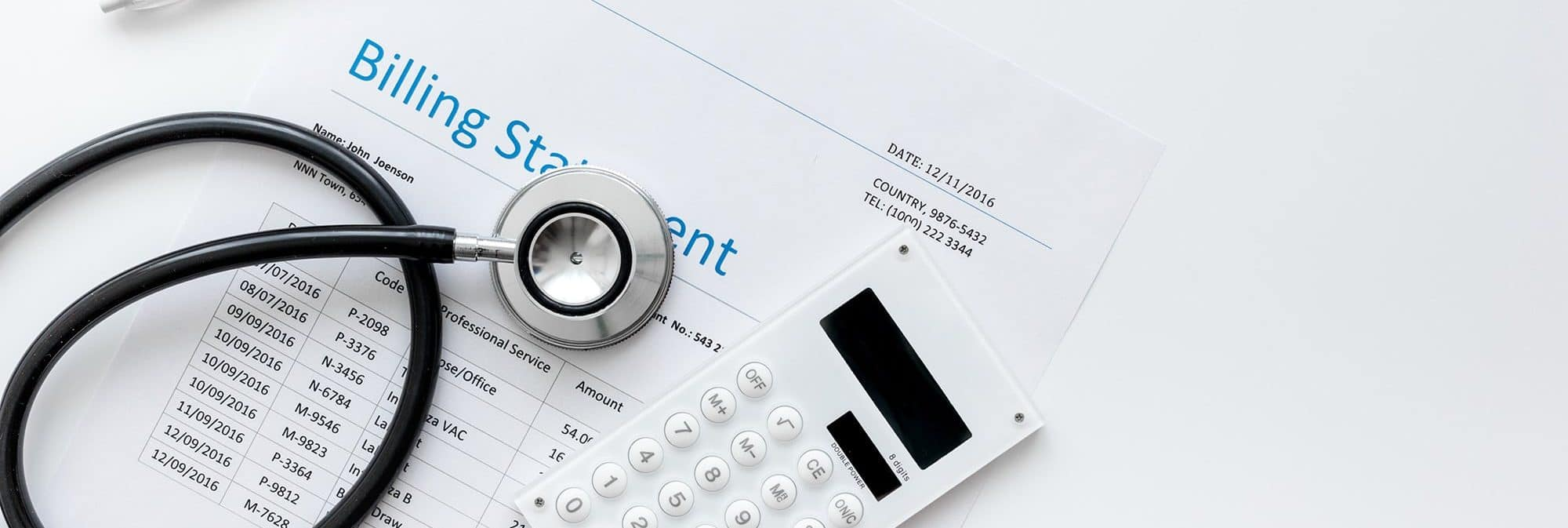 picture of a medical billing statement with a stethoscope
