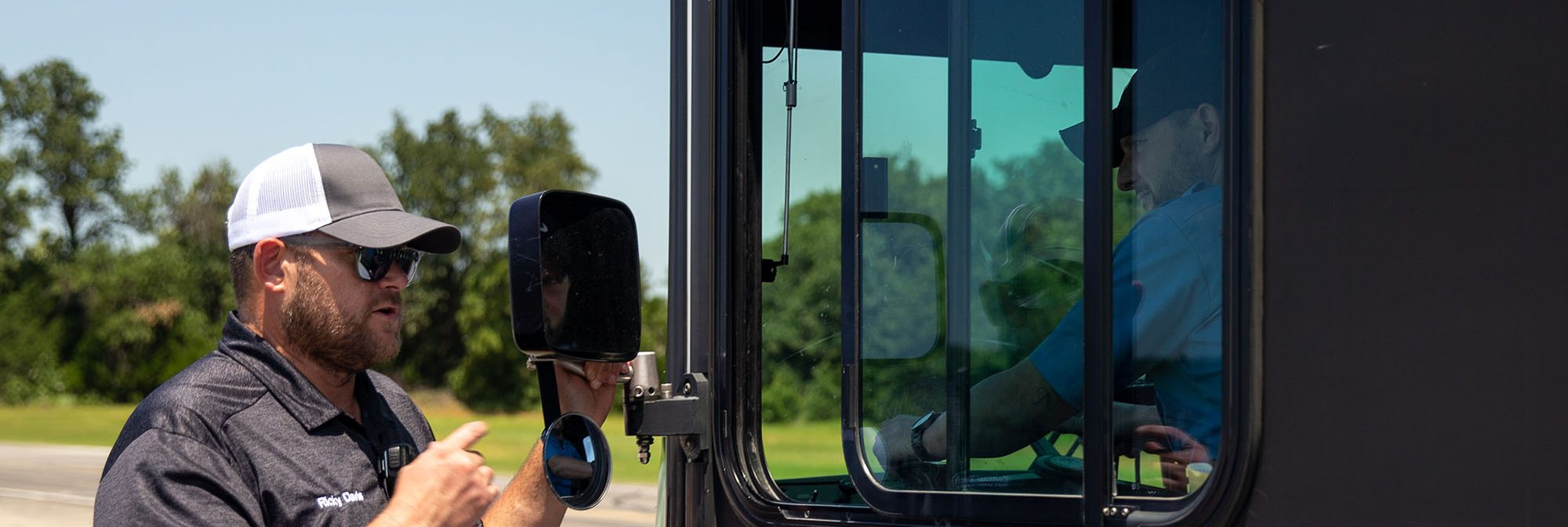 CDL instructor teaching a student how to drive at Central Tech in Oklahoma