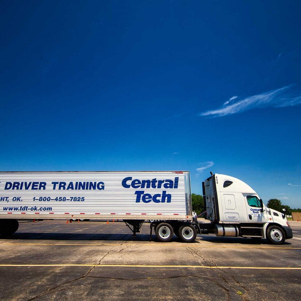 photo of a Central Tech Truck Driving Training semi