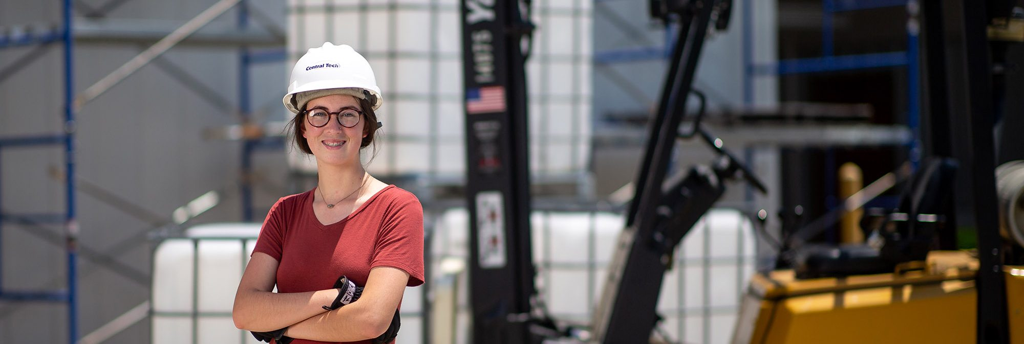 photo of a woman in a hard hat at Central Tech in Oklahoma