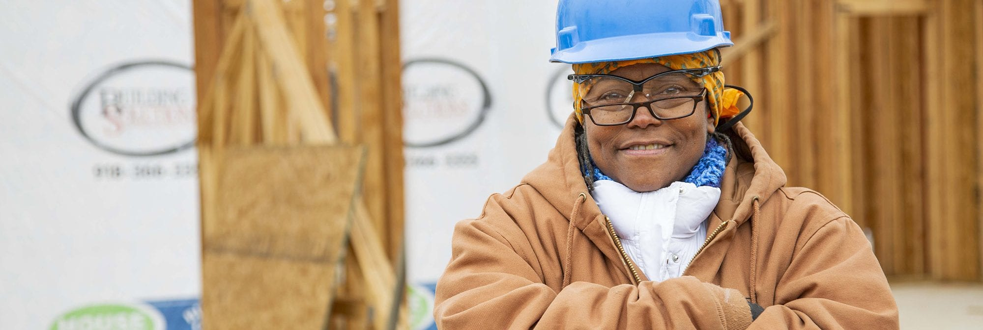 photo of construction woman on site