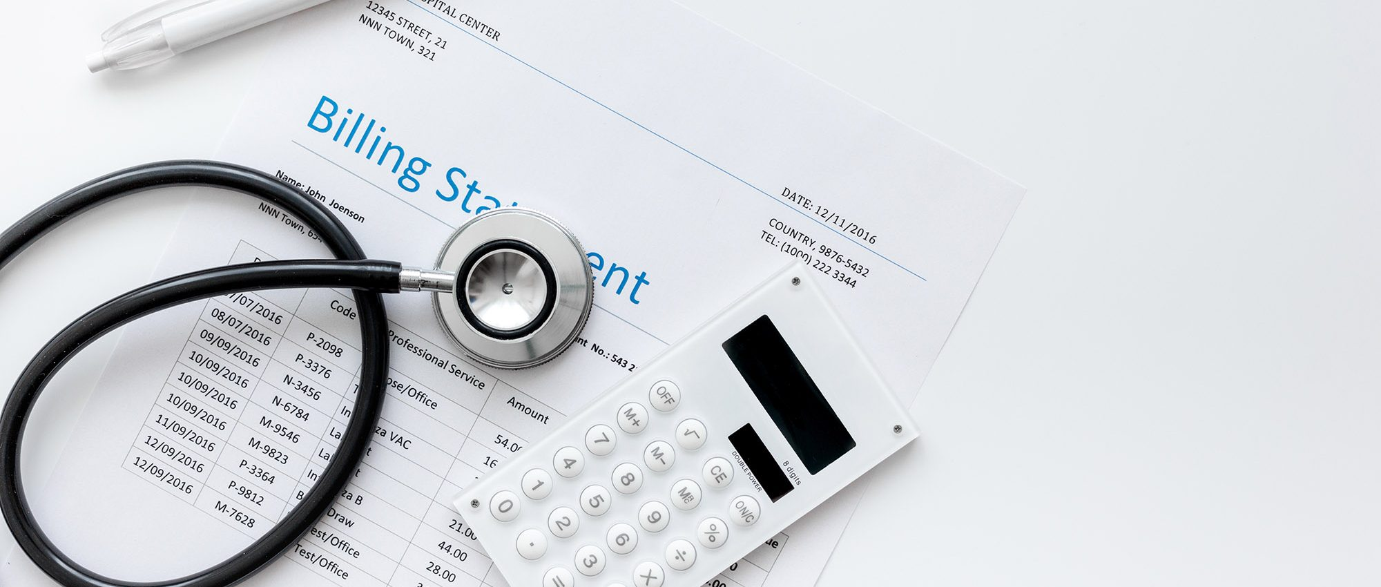 picture of a medical bill and stethoscope