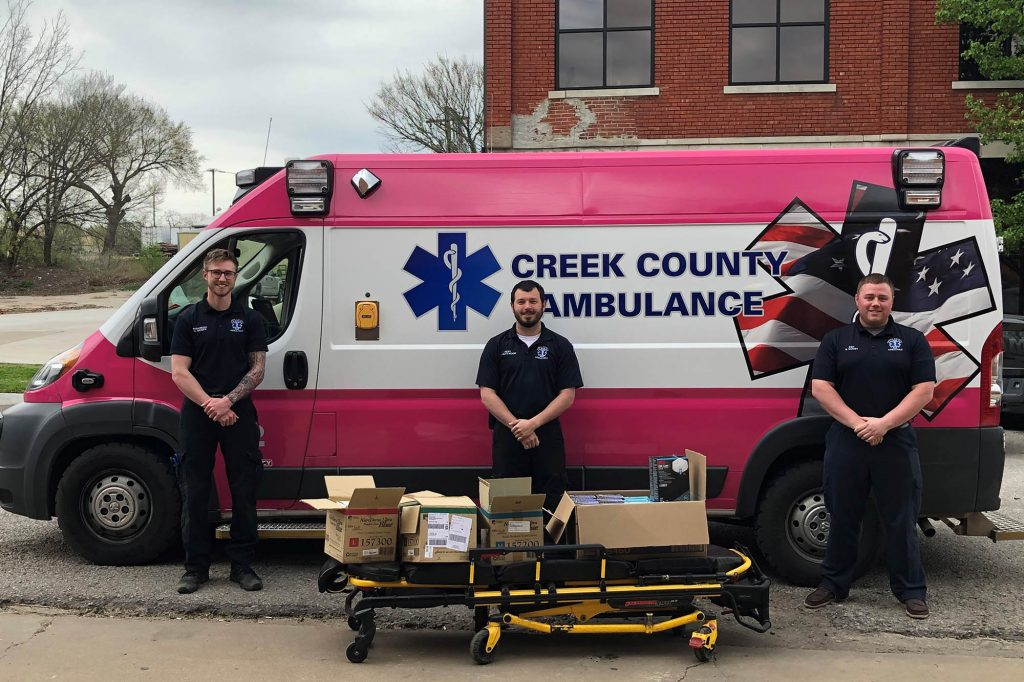 picture of Creek County Ambulance receiving PPE donation from Central Tech