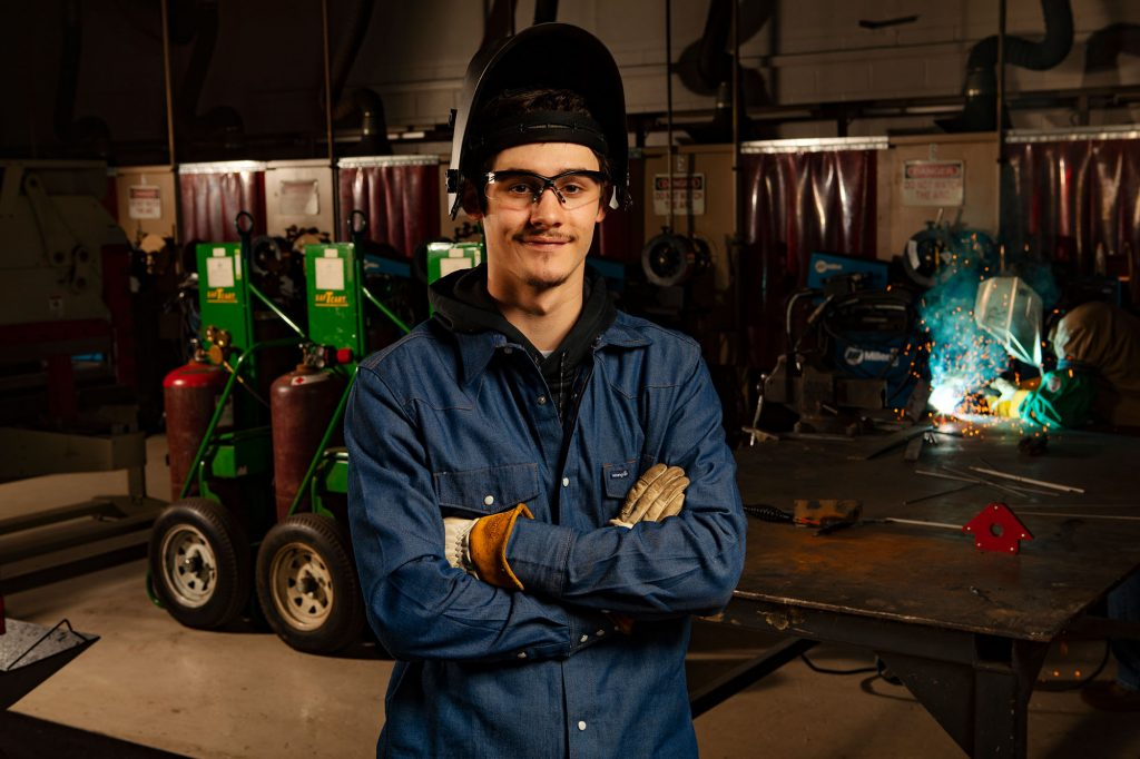 welding student at Central Tech in Drumright